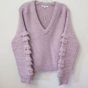 Madewell Purple Fringe Knitted Sweater Size L